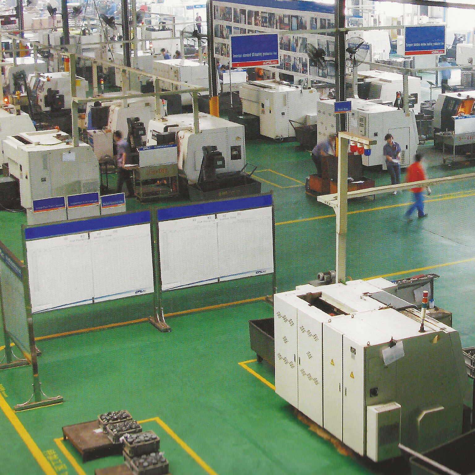 Lathe banks and machining centers